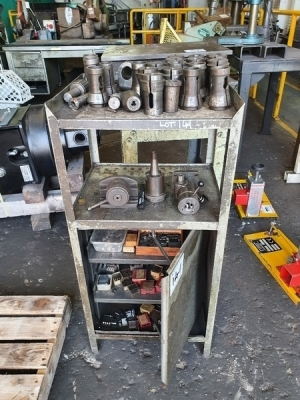 Cabinet c/w Misc Lathe Ancillary Equipment